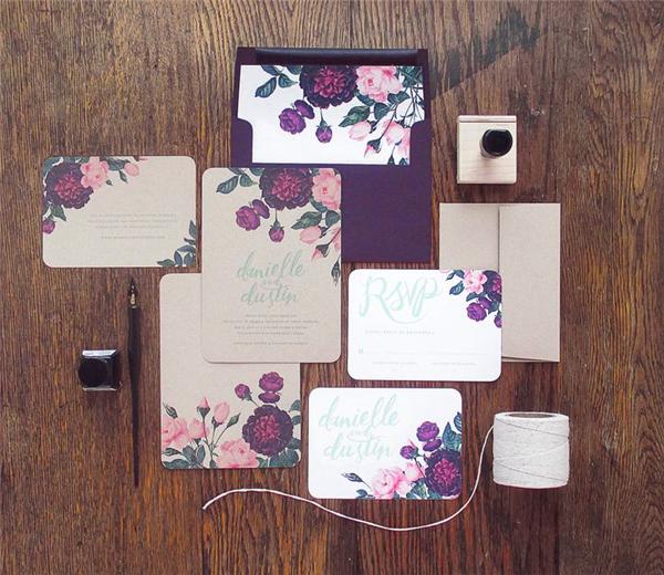 dark-purple-painted-botanicals-wedding-invitation