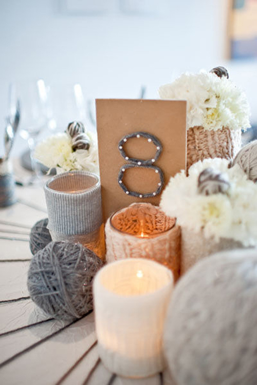 yarn-themed-wedding-centerpiece
